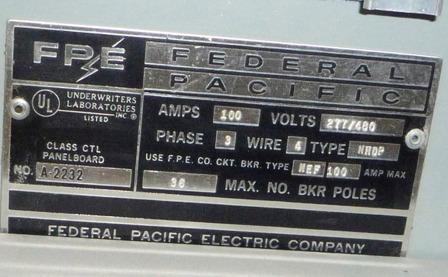 federal pacific label